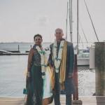 Boda hindú azul y oro en Riverhouse