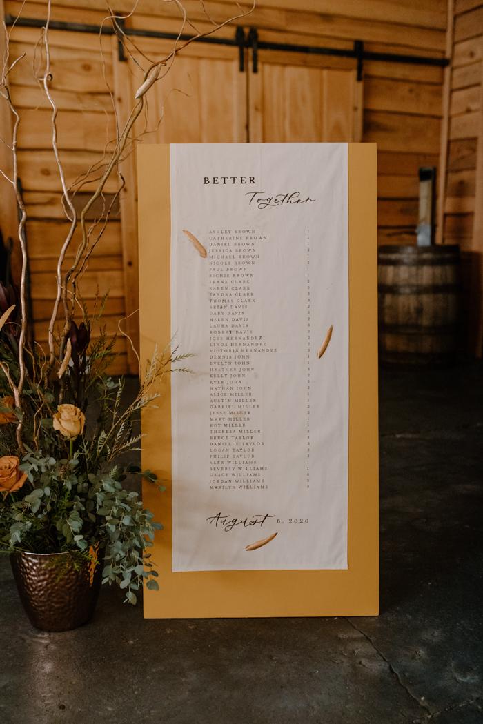 Tablero de asignación de mesa de boda falsa grande