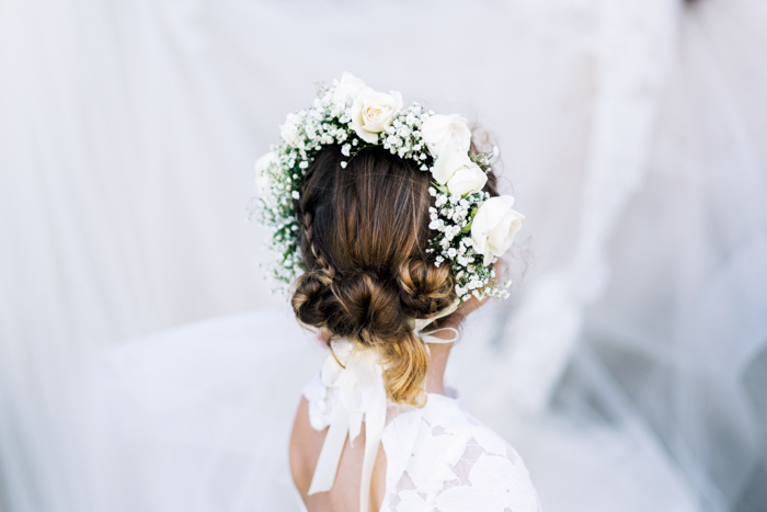 corona de flores de boda