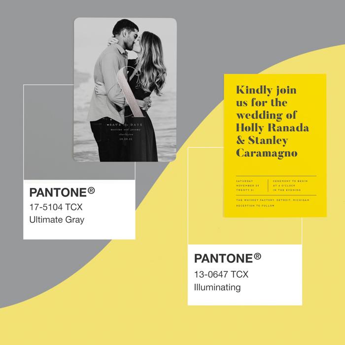 Papelería de boda del año en color menta Pantone