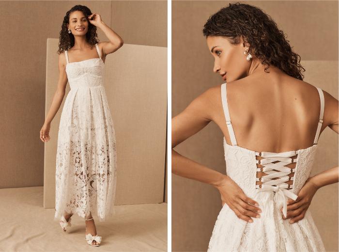 Ariana BHLDN Elopement Dress Pose Delantero y Espalda