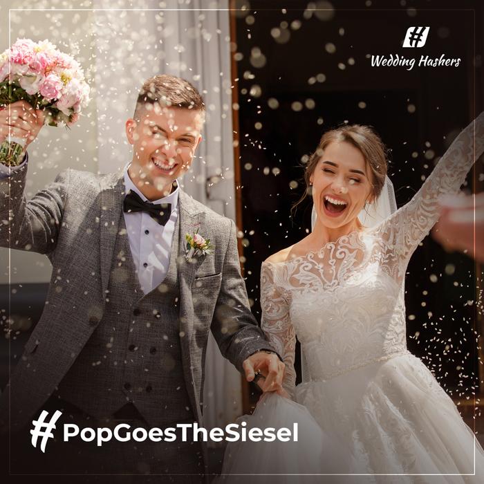 Mezcla de arroz con texto creativo de hashtag de boda.